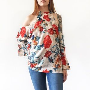 Tops - B2G1 FREE Grid pattern cold shoulder floral ruffle